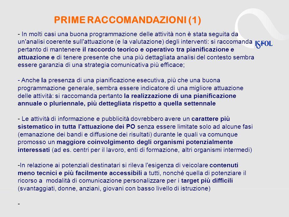 PRIME RACCOMANDAZIONI (1) Dallanalisi dei documenti in nostro possesso si desumono pertanto le seguenti indicazioni di sintesi: - In molti casi una bu