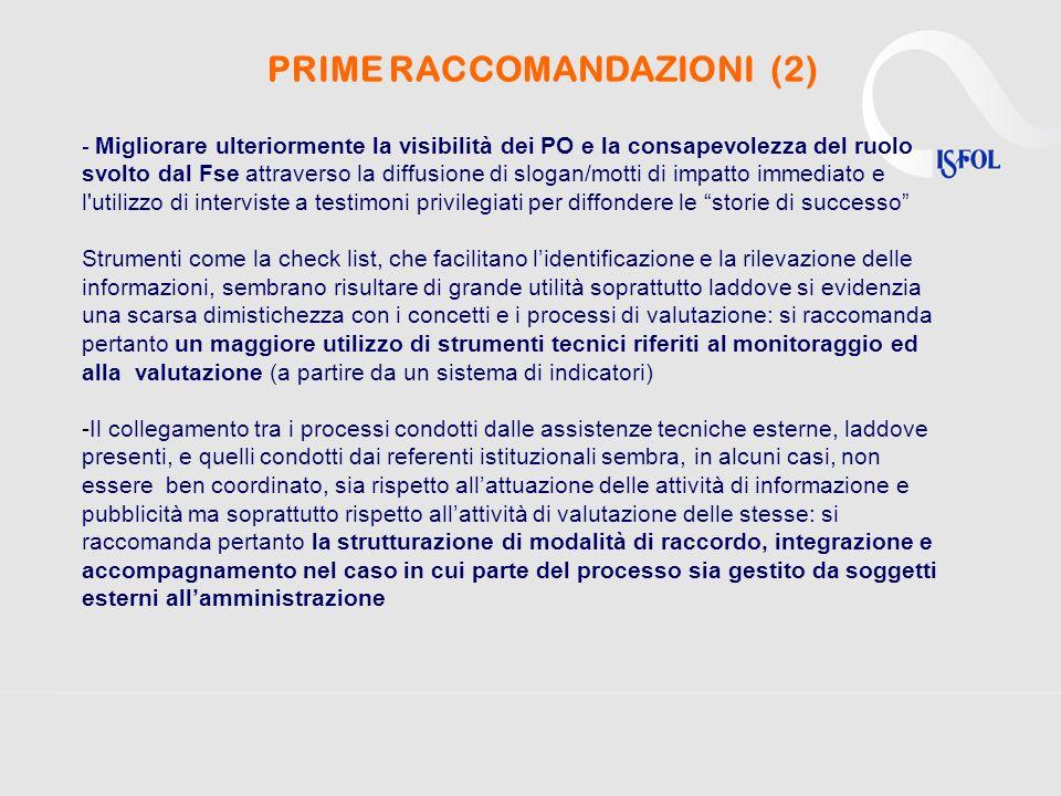 - Migliorare ulteriormente la visibilità dei PO e la consapevolezza del ruolo svolto dal Fse attraverso la diffusione di slogan/motti di impatto immed