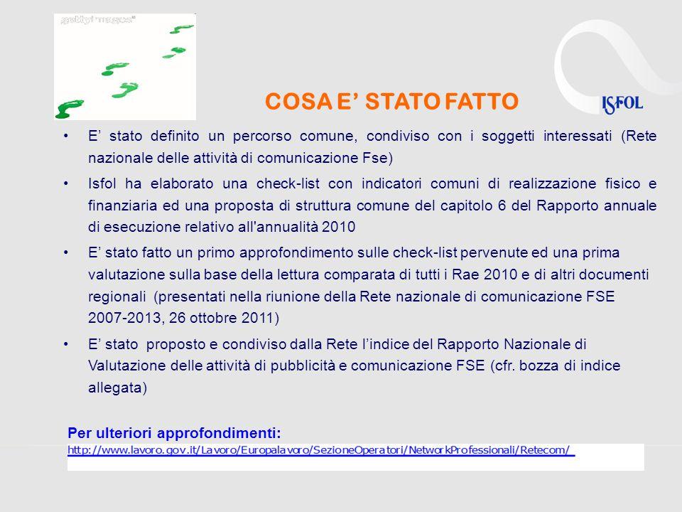 COSA E STATO FATTO E stato definito un percorso comune, condiviso con i soggetti interessati (Rete nazionale delle attività di comunicazione Fse) Isfo