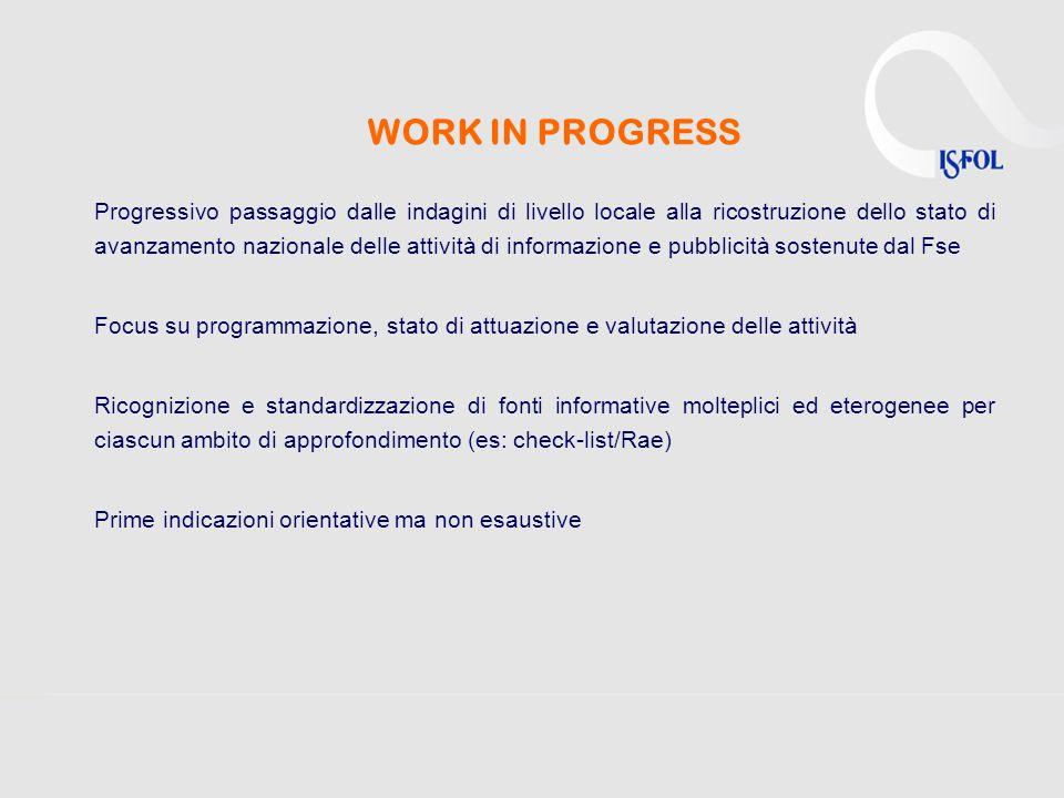 WORK IN PROGRESS Progressivo passaggio dalle indagini di livello locale alla ricostruzione dello stato di avanzamento nazionale delle attività di info