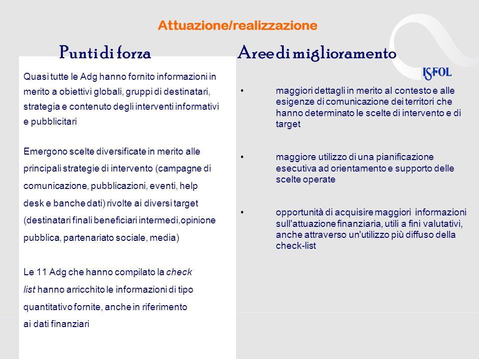 Attuazione/realizzazione Emergono scelte diversificate in merito alle principali strategie di intervento (campagne di comunicazione, pubblicazioni, ev