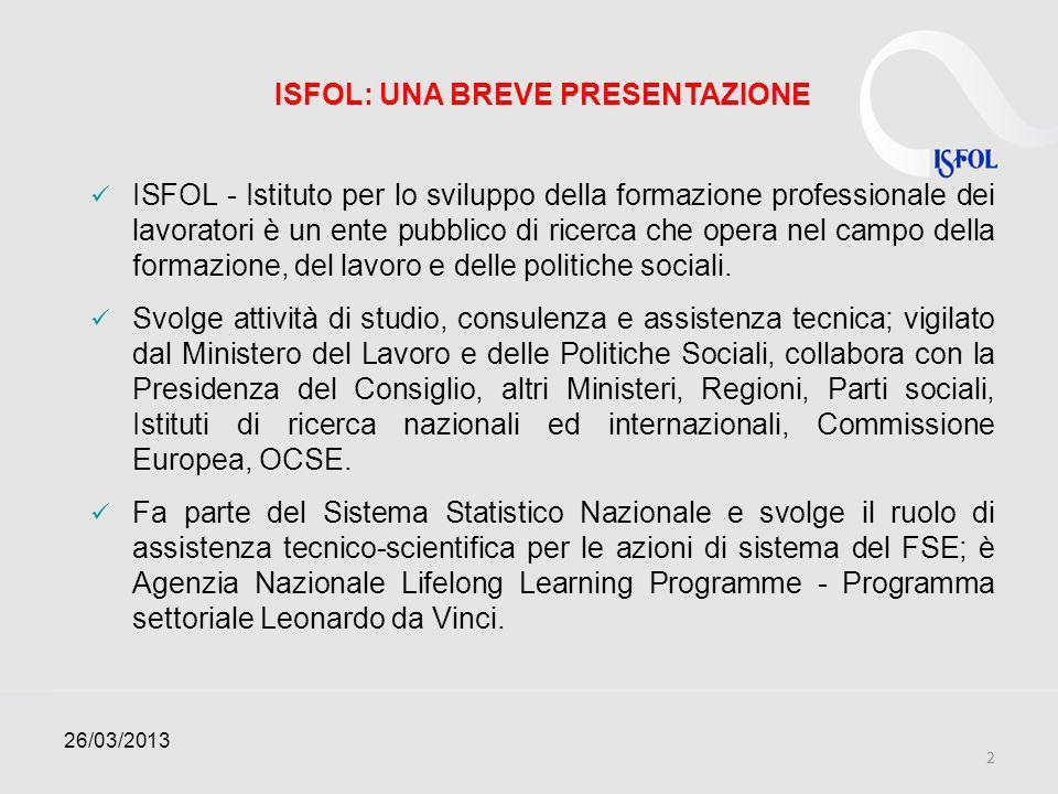 ISFOL: UNA BREVE PRESENTAZIONE ISFOL - Istituto per lo sviluppo della formazione professionale dei lavoratori è un ente pubblico di ricerca che opera