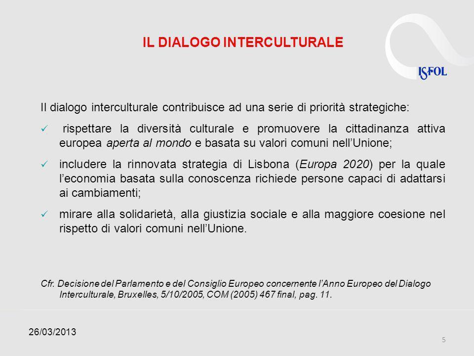 IL DIALOGO INTERCULTURALE Il dialogo interculturale contribuisce ad una serie di priorità strategiche: rispettare la diversità culturale e promuovere