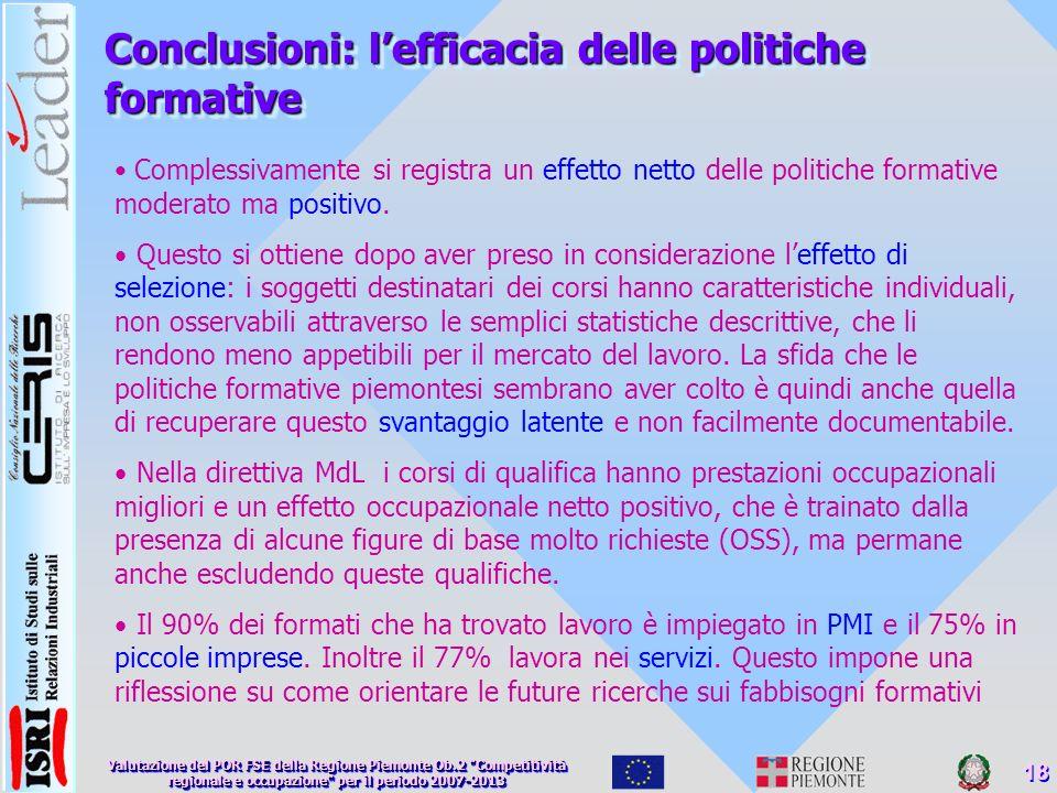 Conclusioni: lefficacia delle politiche formative Complessivamente si registra un effetto netto delle politiche formative moderato ma positivo.