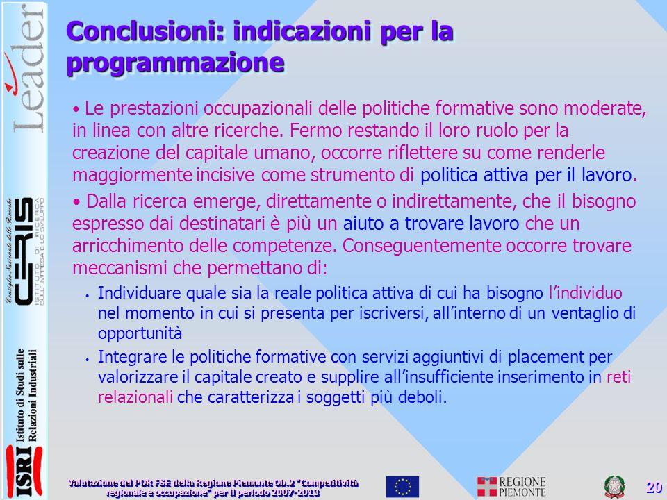 Conclusioni: indicazioni per la programmazione Le prestazioni occupazionali delle politiche formative sono moderate, in linea con altre ricerche.