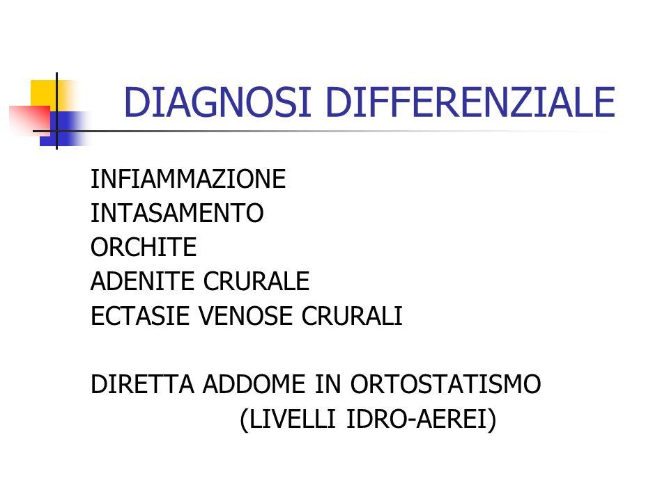 DIAGNOSI DIFFERENZIALE INFIAMMAZIONE INTASAMENTO ORCHITE ADENITE CRURALE ECTASIE VENOSE CRURALI DIRETTA ADDOME IN ORTOSTATISMO (LIVELLI IDRO-AEREI)