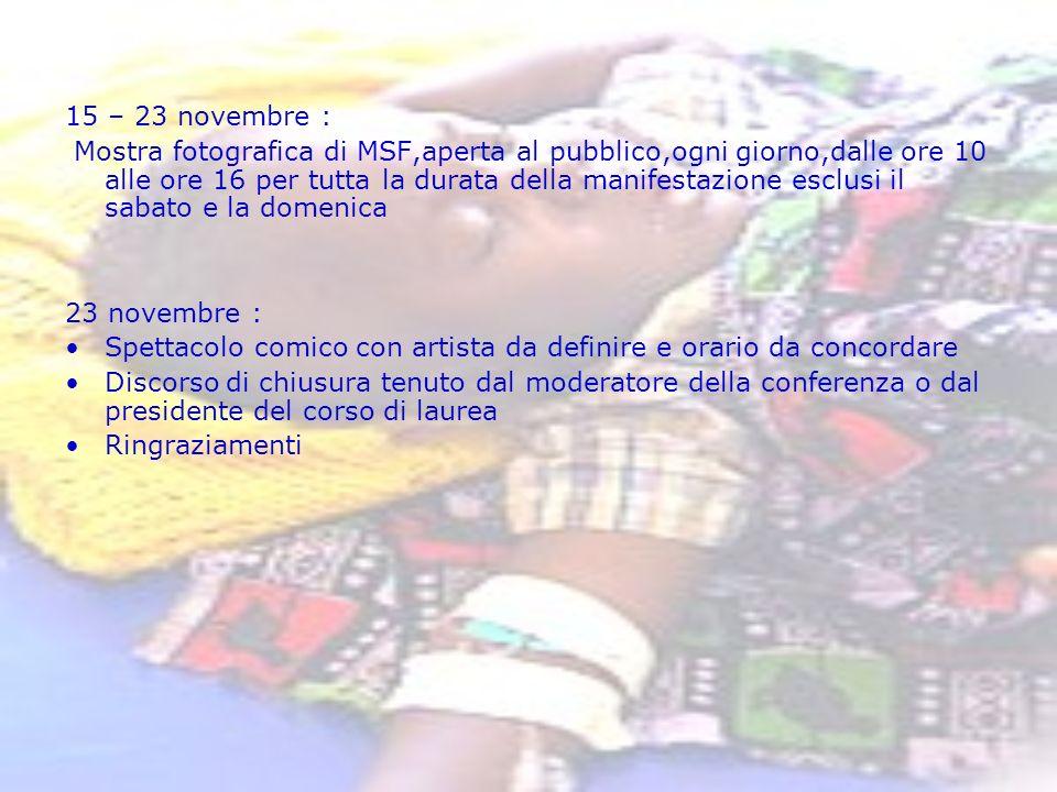 15 – 23 novembre : Mostra fotografica di MSF,aperta al pubblico,ogni giorno,dalle ore 10 alle ore 16 per tutta la durata della manifestazione esclusi