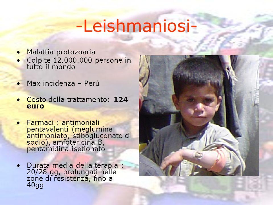 -Leishmaniosi- Malattia protozoaria Colpite 12.000.000 persone in tutto il mondo Max incidenza – Perù Costo della trattamento: 124 euro Farmaci : anti