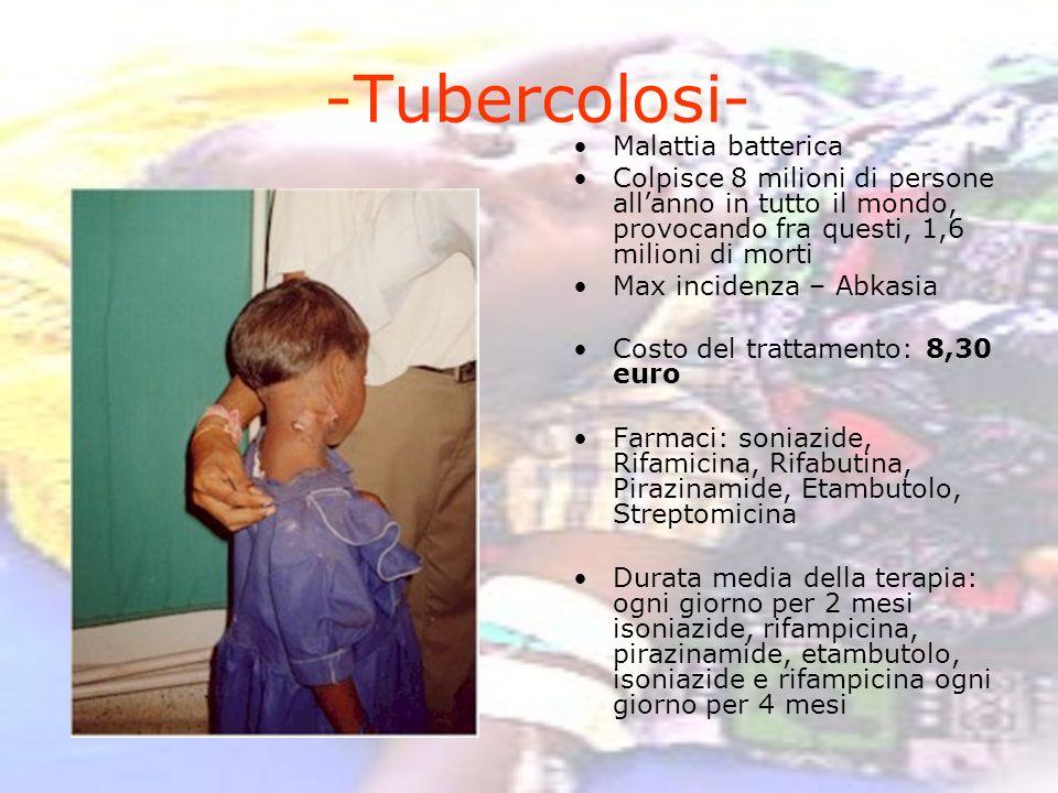 -Tubercolosi- Malattia batterica Colpisce 8 milioni di persone allanno in tutto il mondo, provocando fra questi, 1,6 milioni di morti Max incidenza –