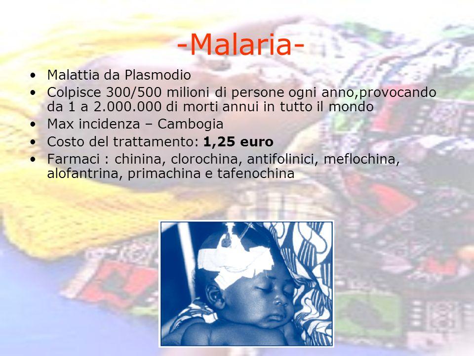 -Malaria- Malattia da Plasmodio Colpisce 300/500 milioni di persone ogni anno,provocando da 1 a 2.000.000 di morti annui in tutto il mondo Max inciden