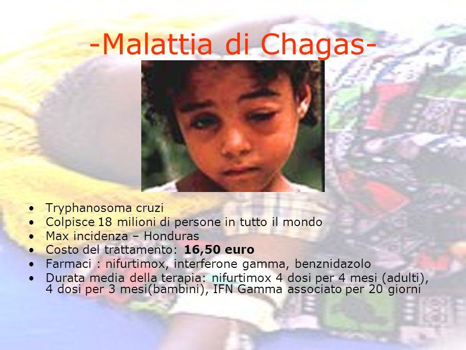 -Malattia di Chagas- Tryphanosoma cruzi Colpisce 18 milioni di persone in tutto il mondo Max incidenza – Honduras Costo del trattamento: 16,50 euro Fa