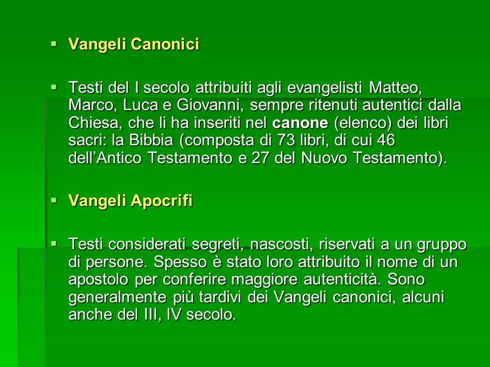 Vangeli Canonici Vangeli Canonici Testi del I secolo attribuiti agli evangelisti Matteo, Marco, Luca e Giovanni, sempre ritenuti autentici dalla Chies