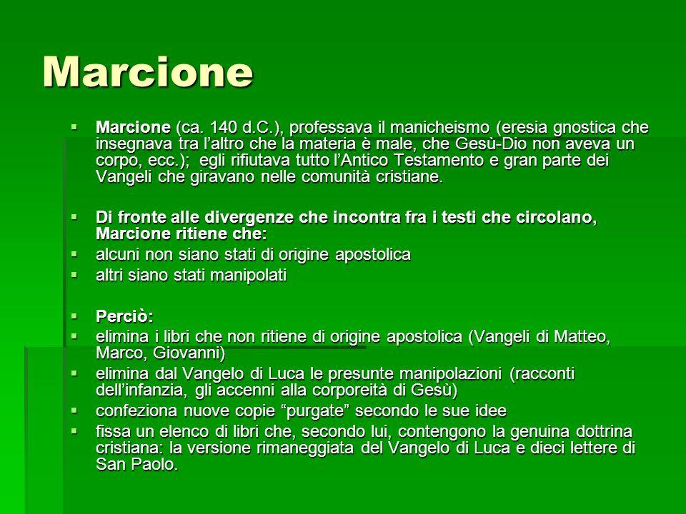 Marcione Marcione (ca. 140 d.C.), professava il manicheismo (eresia gnostica che insegnava tra laltro che la materia è male, che Gesù-Dio non aveva un