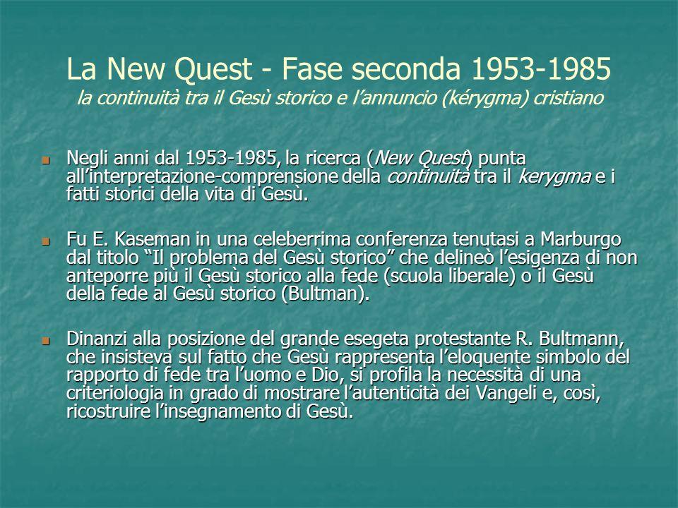 La New Quest - Fase seconda 1953-1985 la continuità tra il Gesù storico e lannuncio (kérygma) cristiano Negli anni dal 1953-1985, la ricerca (New Ques