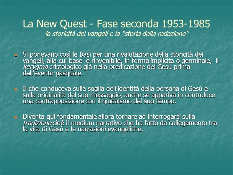La New Quest - Fase seconda 1953-1985 la storicità dei vangeli e la storia della redazione Si ponevano così le basi per una rivalutazione della storic