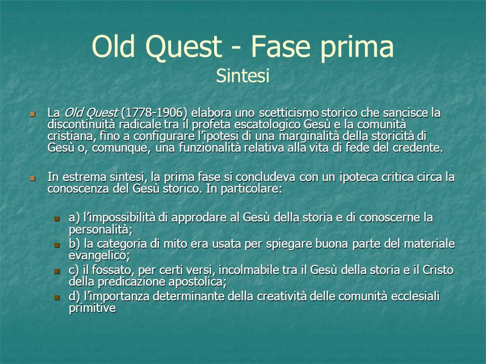 Old Quest - Fase prima Sintesi La Old Quest (1778-1906) elabora uno scetticismo storico che sancisce la discontinuità radicale tra il profeta escatolo