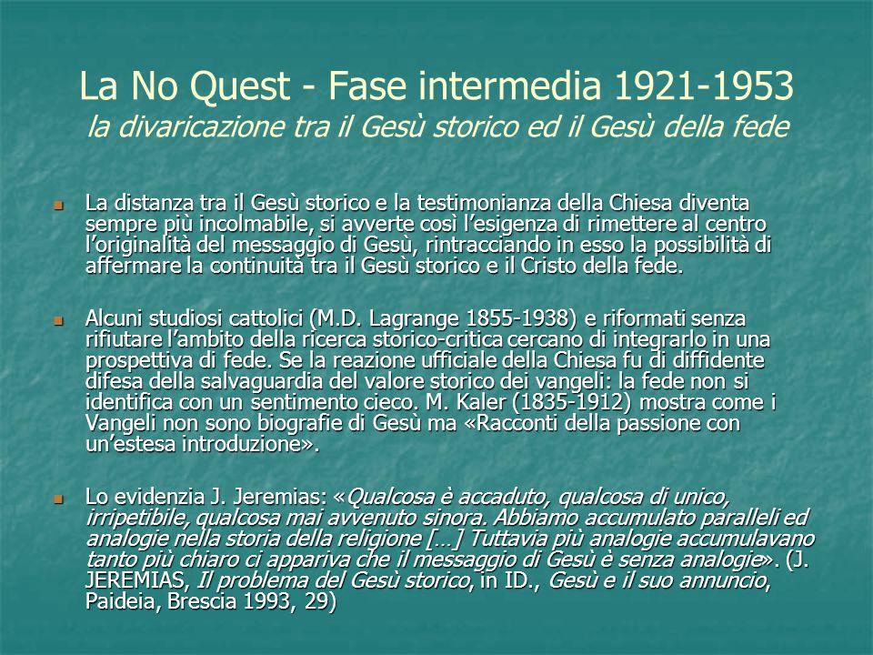 La No Quest - Fase intermedia 1921-1953 la divaricazione tra il Gesù storico ed il Gesù della fede La distanza tra il Gesù storico e la testimonianza