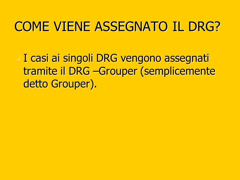 COME VIENE ASSEGNATO IL DRG? I casi ai singoli DRG vengono assegnati tramite il DRG –Grouper (semplicemente detto Grouper). I casi ai singoli DRG veng