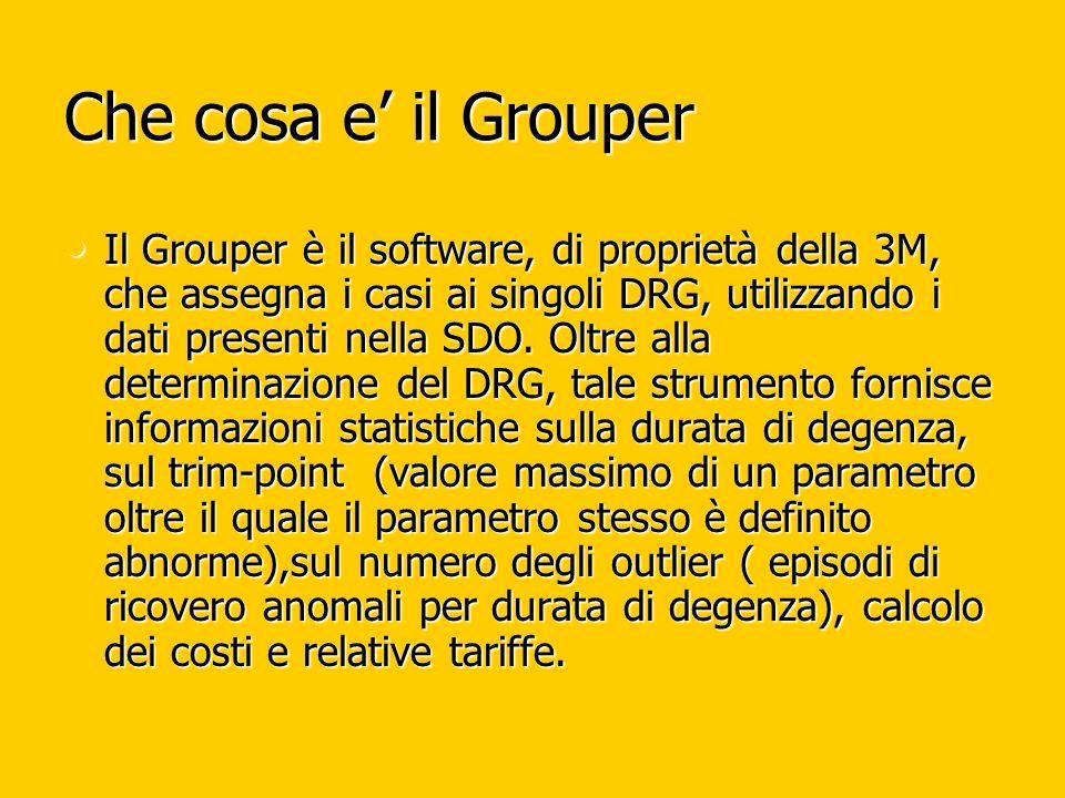 Che cosa e il Grouper Il Grouper è il software, di proprietà della 3M, che assegna i casi ai singoli DRG, utilizzando i dati presenti nella SDO.