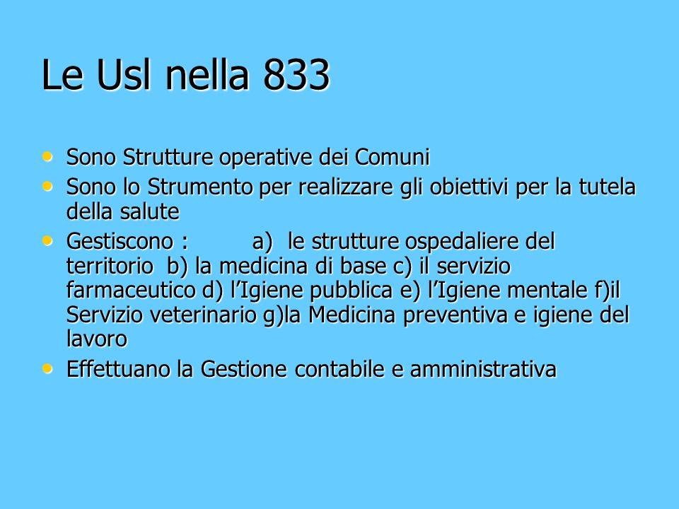 Le Usl nella 833 Sono Strutture operative dei Comuni Sono Strutture operative dei Comuni Sono lo Strumento per realizzare gli obiettivi per la tutela