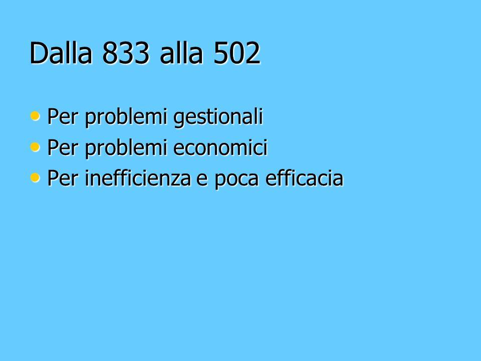 Dalla 833 alla 502 Per problemi gestionali Per problemi gestionali Per problemi economici Per problemi economici Per inefficienza e poca efficacia Per inefficienza e poca efficacia