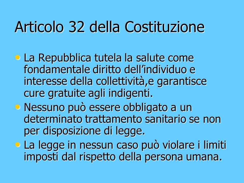 Articolo 32 della Costituzione La Repubblica tutela la salute come fondamentale diritto dellindividuo e interesse della collettività,e garantisce cure gratuite agli indigenti.