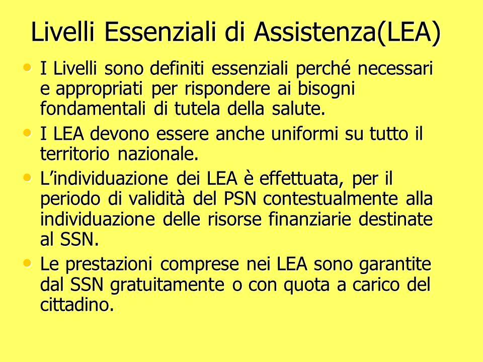Livelli Essenziali di Assistenza(LEA) Livelli Essenziali di Assistenza(LEA) I Livelli sono definiti essenziali perché necessari e appropriati per rispondere ai bisogni fondamentali di tutela della salute.