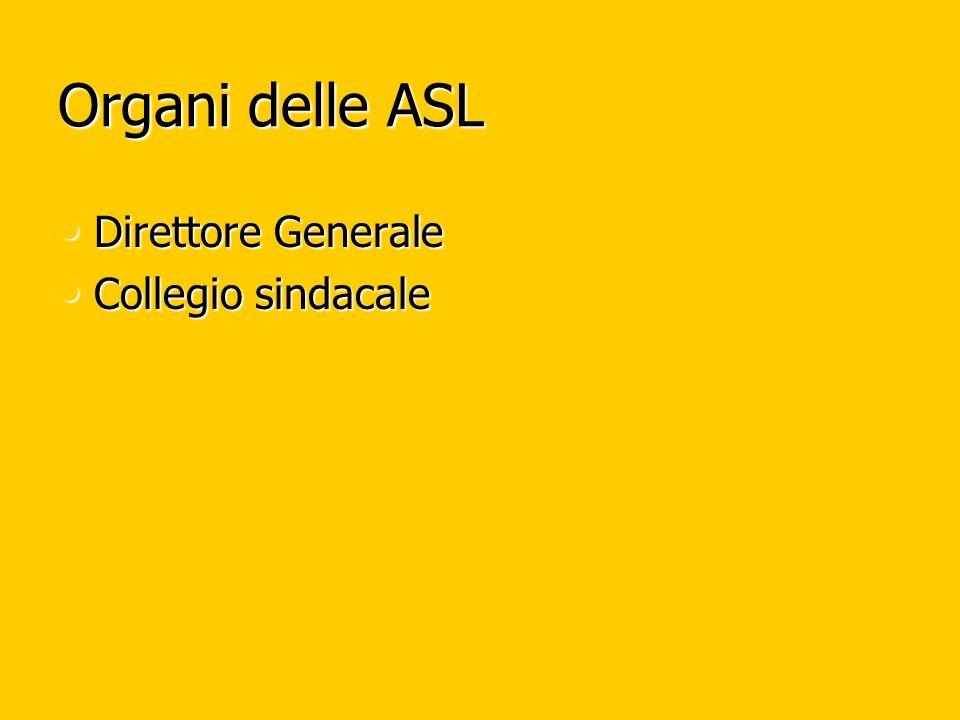 Organi delle ASL Direttore Generale Direttore Generale Collegio sindacale Collegio sindacale