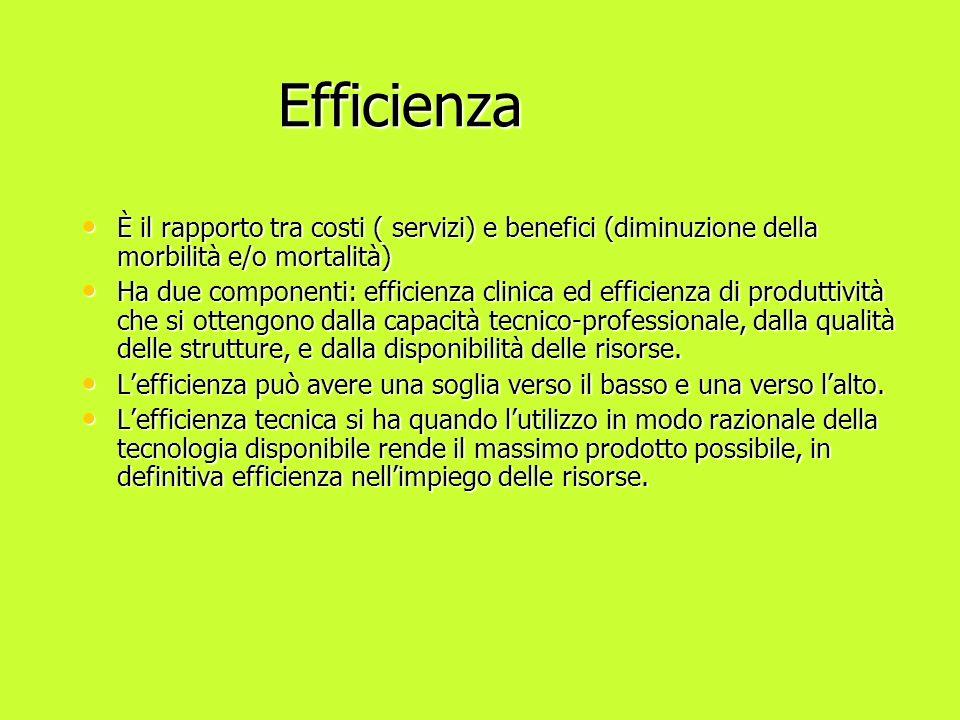 Efficienza Efficienza È il rapporto tra costi ( servizi) e benefici (diminuzione della morbilità e/o mortalità) È il rapporto tra costi ( servizi) e b