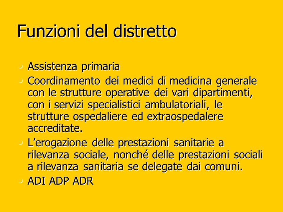Funzioni del distretto Assistenza primaria Assistenza primaria Coordinamento dei medici di medicina generale con le strutture operative dei vari dipar