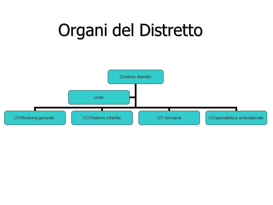 Organi del Distretto Organi del Distretto Direttore distretto UOMedicina generale UO Materno infantile UO farmacia UOspecialistica ambulatoriale. ucad