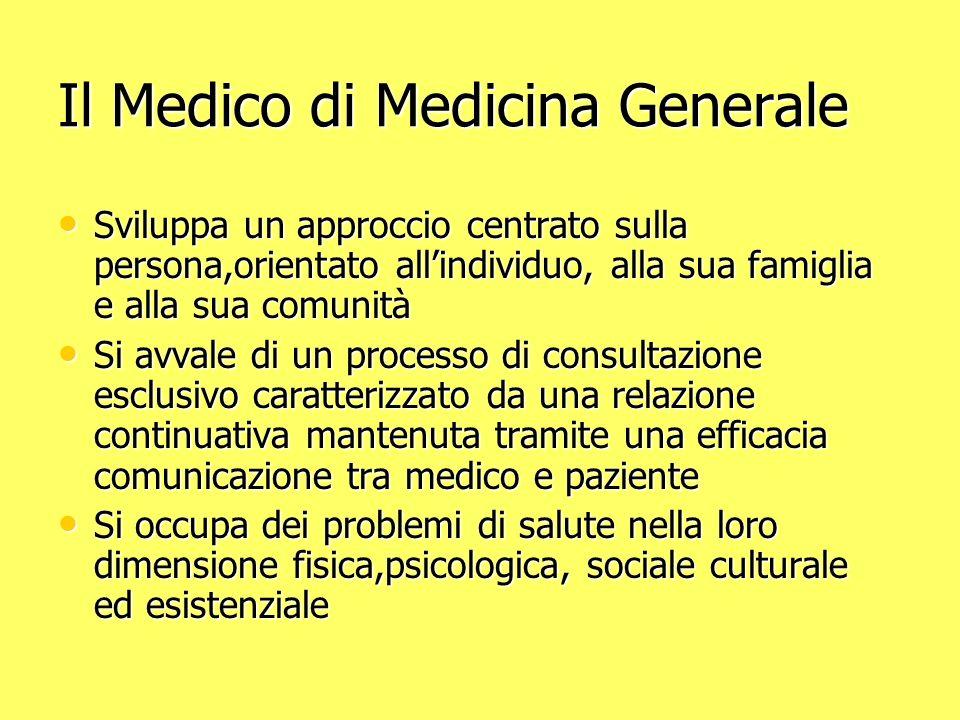 Il Medico di Medicina Generale Sviluppa un approccio centrato sulla persona,orientato allindividuo, alla sua famiglia e alla sua comunità Sviluppa un