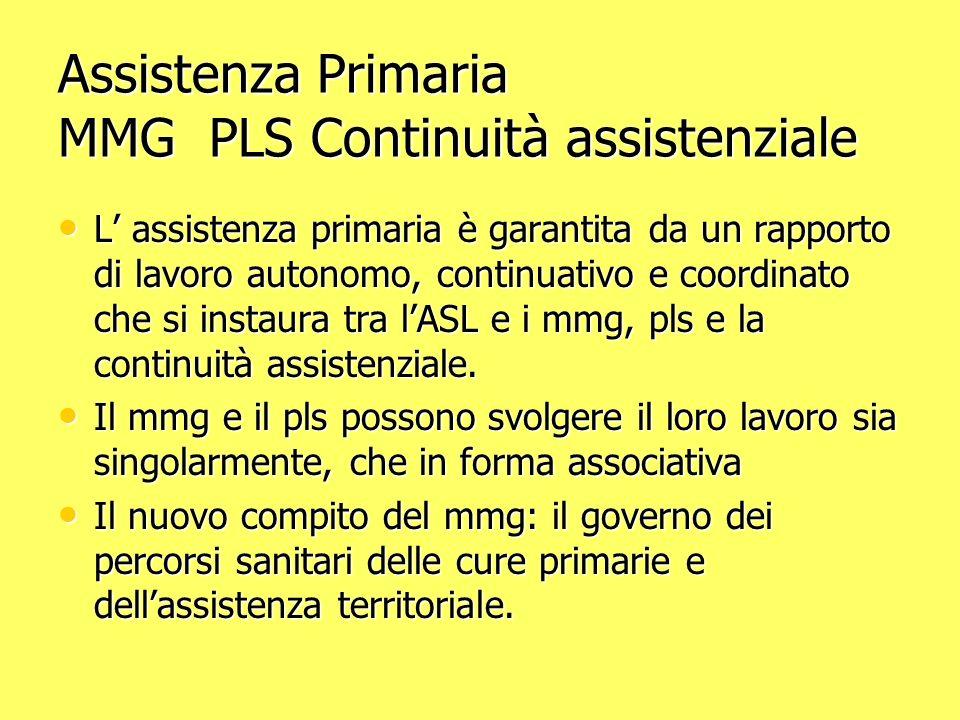 Assistenza Primaria MMG PLS Continuità assistenziale L assistenza primaria è garantita da un rapporto di lavoro autonomo, continuativo e coordinato che si instaura tra lASL e i mmg, pls e la continuità assistenziale.