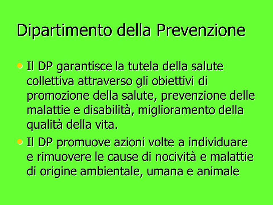 Dipartimento della Prevenzione Il DP garantisce la tutela della salute collettiva attraverso gli obiettivi di promozione della salute, prevenzione delle malattie e disabilità, miglioramento della qualità della vita.