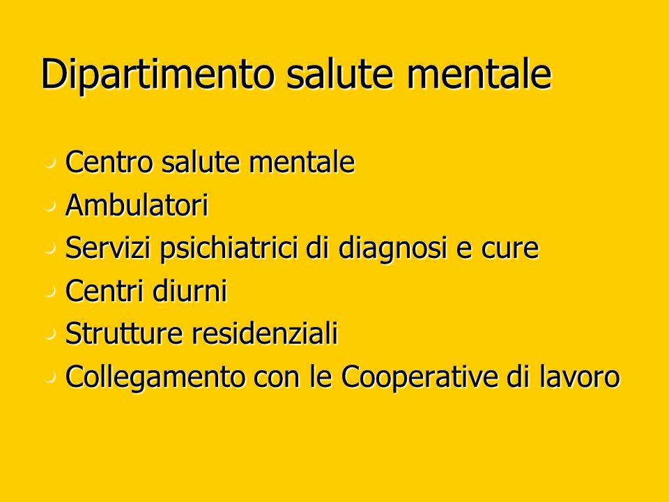 Dipartimento salute mentale Centro salute mentale Centro salute mentale Ambulatori Ambulatori Servizi psichiatrici di diagnosi e cure Servizi psichiat
