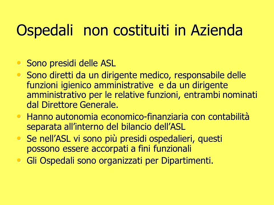 Ospedali non costituiti in Azienda Sono presidi delle ASL Sono presidi delle ASL Sono diretti da un dirigente medico, responsabile delle funzioni igie