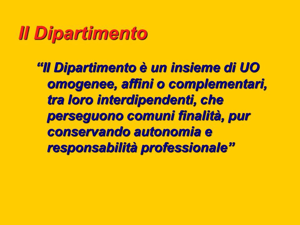 Il Dipartimento Il Dipartimento è un insieme di UO omogenee, affini o complementari, tra loro interdipendenti, che perseguono comuni finalità, pur conservando autonomia e responsabilità professionale