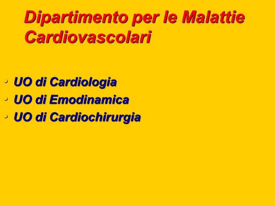 Dipartimento per le Malattie Cardiovascolari UO di Cardiologia UO di Cardiologia UO di Emodinamica UO di Emodinamica UO di Cardiochirurgia UO di Cardiochirurgia