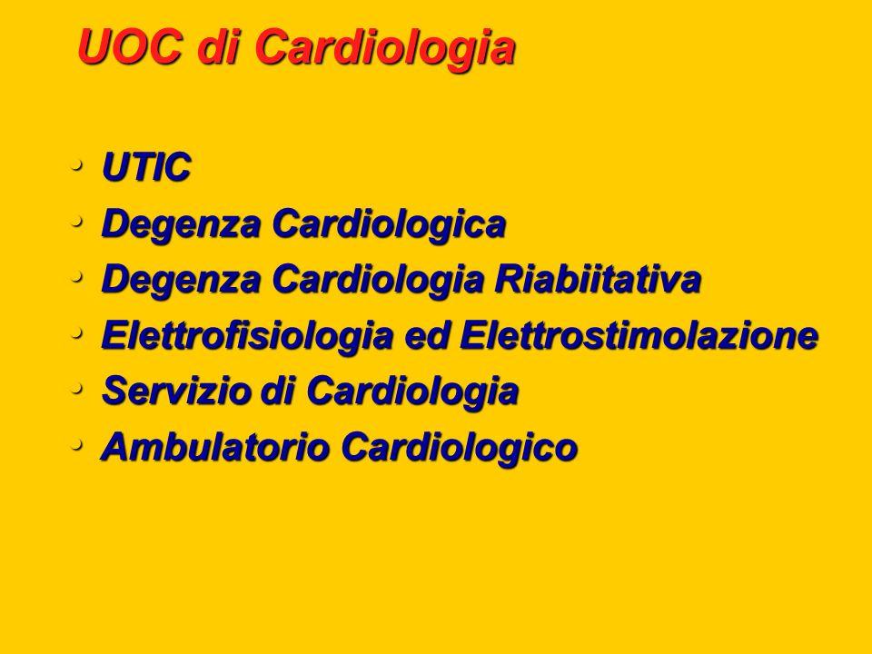 UOC di Cardiologia UTIC UTIC Degenza Cardiologica Degenza Cardiologica Degenza Cardiologia Riabiitativa Degenza Cardiologia Riabiitativa Elettrofisiol