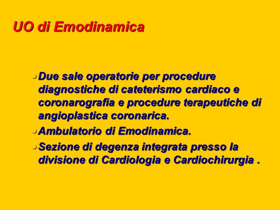 UO di Emodinamica Due sale operatorie per procedure diagnostiche di cateterismo cardiaco e coronarografia e procedure terapeutiche di angioplastica coronarica.