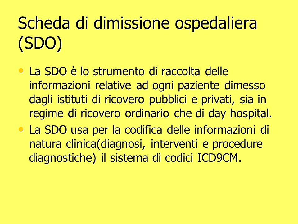 Scheda di dimissione ospedaliera (SDO) La SDO è lo strumento di raccolta delle informazioni relative ad ogni paziente dimesso dagli istituti di ricovero pubblici e privati, sia in regime di ricovero ordinario che di day hospital.