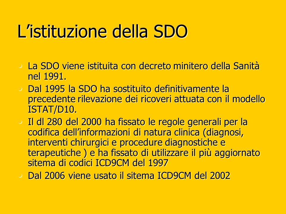 Listituzione della SDO La SDO viene istituita con decreto minitero della Sanità nel 1991. La SDO viene istituita con decreto minitero della Sanità nel