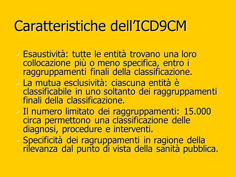 Caratteristiche dellICD9CM Esaustività: tutte le entità trovano una loro collocazione più o meno specifica, entro i raggruppamenti finali della classificazione.
