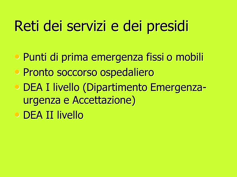 Reti dei servizi e dei presidi Punti di prima emergenza fissi o mobili Punti di prima emergenza fissi o mobili Pronto soccorso ospedaliero Pronto soccorso ospedaliero DEA I livello (Dipartimento Emergenza- urgenza e Accettazione) DEA I livello (Dipartimento Emergenza- urgenza e Accettazione) DEA II livello DEA II livello