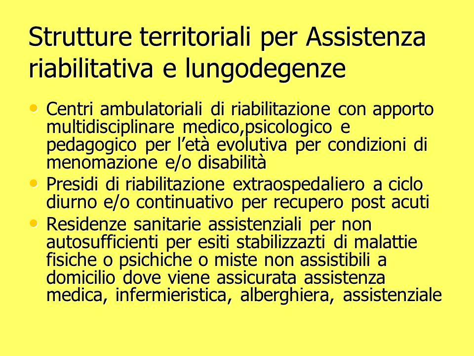 Strutture territoriali per Assistenza riabilitativa e lungodegenze Centri ambulatoriali di riabilitazione con apporto multidisciplinare medico,psicolo