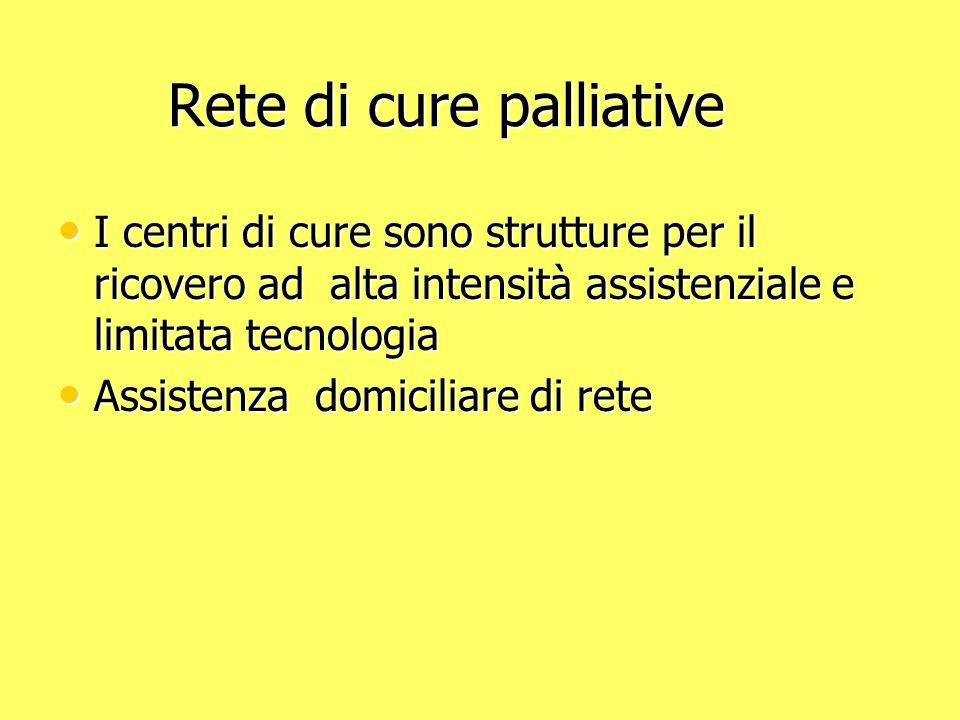 Rete di cure palliative Rete di cure palliative I centri di cure sono strutture per il ricovero ad alta intensità assistenziale e limitata tecnologia