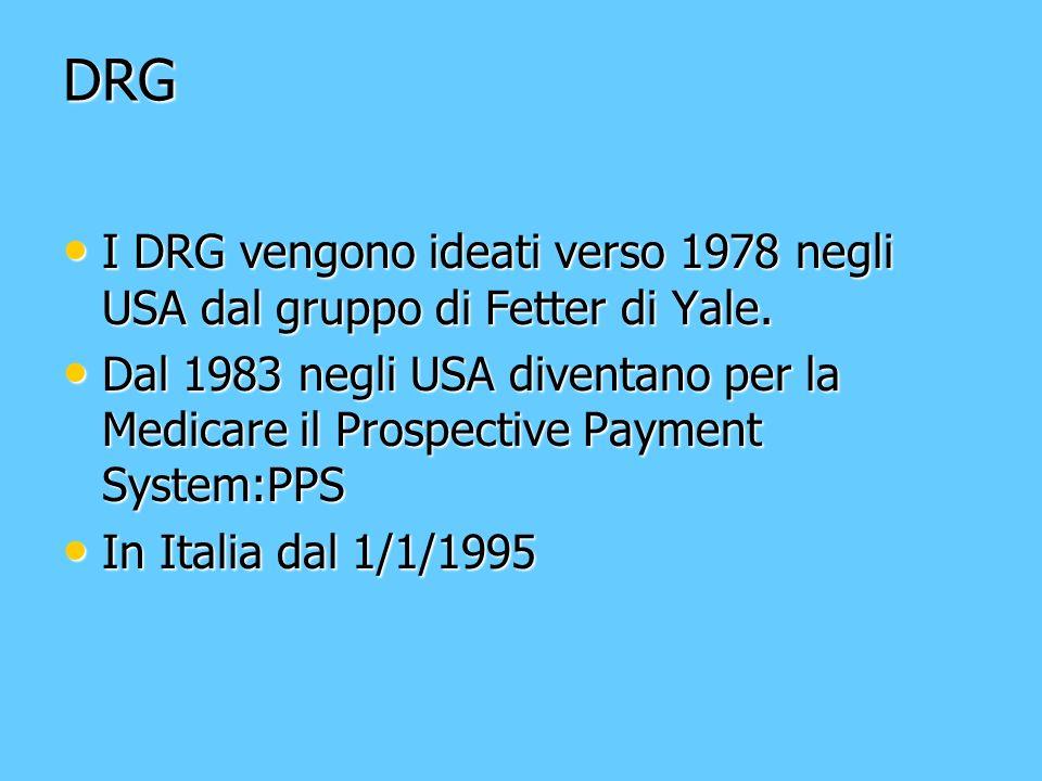 DRG I DRG vengono ideati verso 1978 negli USA dal gruppo di Fetter di Yale. I DRG vengono ideati verso 1978 negli USA dal gruppo di Fetter di Yale. Da