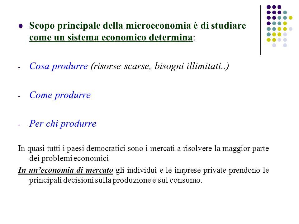 Scopo principale della microeconomia è di studiare come un sistema economico determina: - Cosa produrre (risorse scarse, bisogni illimitati..) - Come