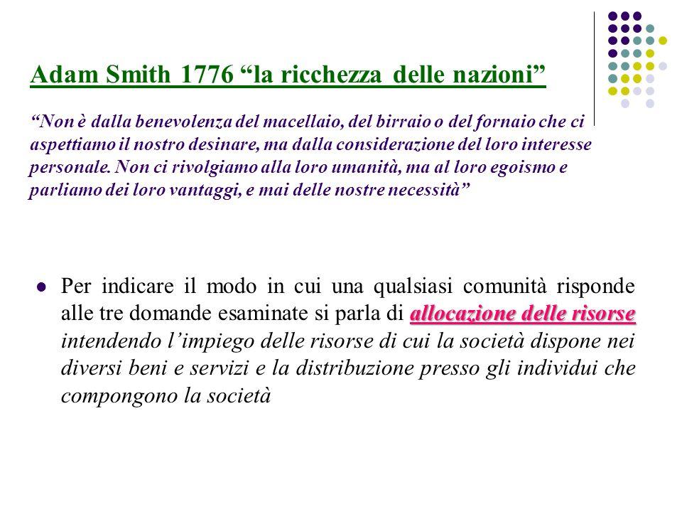 Adam Smith 1776 la ricchezza delle nazioni Non è dalla benevolenza del macellaio, del birraio o del fornaio che ci aspettiamo il nostro desinare, ma d