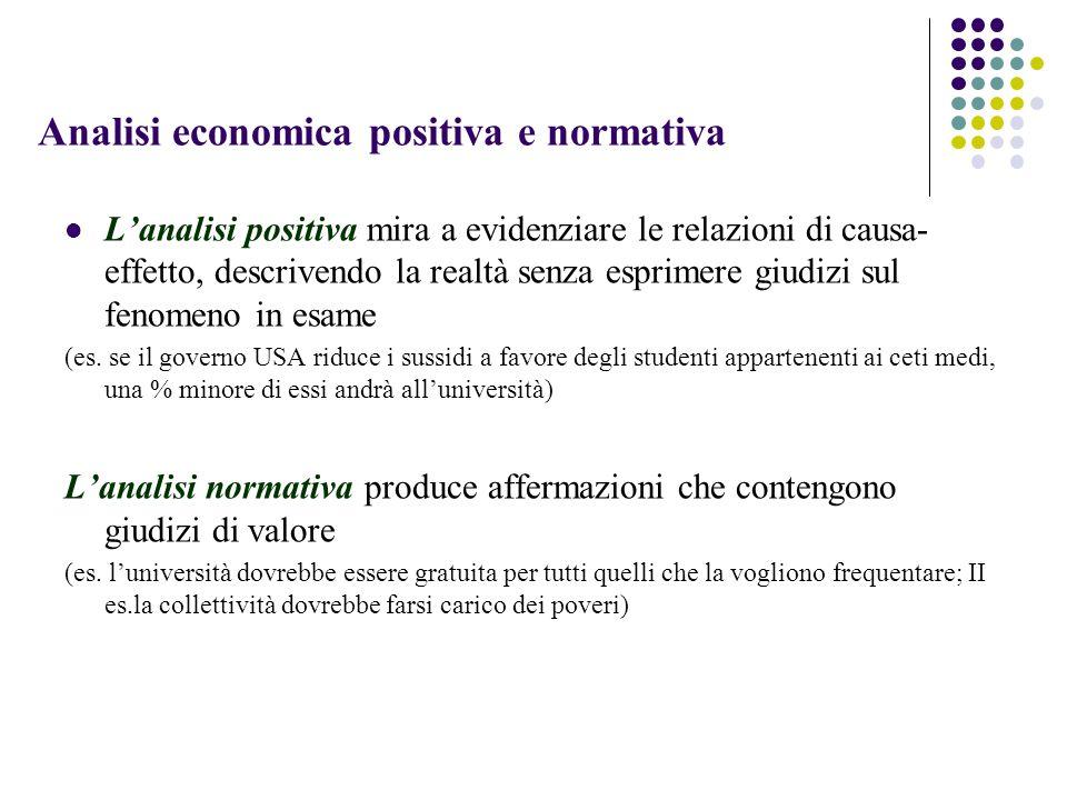 Analisi economica positiva e normativa Lanalisi positiva mira a evidenziare le relazioni di causa- effetto, descrivendo la realtà senza esprimere giud